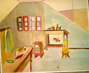 """my room"", watercolor, 32/33,5 cm, in Zurich"