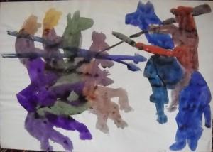 """""""fight"""", ink on paper, 44/61 cm, in Biel-Bienne"""