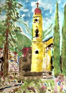 """""""San Juan"""", watercolor, 31/22 cm, in Mexico"""