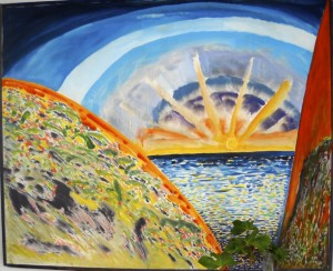 """Sunrise"", acrylic/canvas, 85/120 cm, on Tenerife"