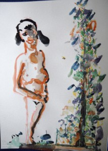 """Woman with tree"", acrylic/paper, 41/ 30 cm, on Tenerife"
