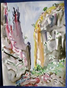 """barranco del infierno"", mixed techn., 48,5/36,5 cm, on Tenerife"